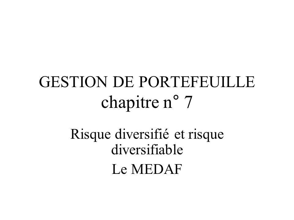 GESTION DE PORTEFEUILLE chapitre n° 7 Risque diversifié et risque diversifiable Le MEDAF
