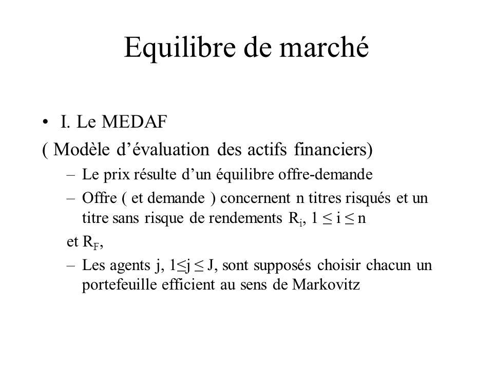 Equilibre de marché I. Le MEDAF ( Modèle dévaluation des actifs financiers) –Le prix résulte dun équilibre offre-demande –Offre ( et demande ) concern