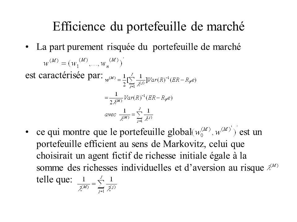 Annexe: Démonstration des relations beta Le rendement du portefeuille M est donné par ( en notant pour simplifier et en notant w=w (M) ) Doù: