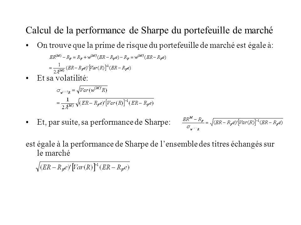 Calcul de la performance de Sharpe du portefeuille de marché On trouve que la prime de risque du portefeuille de marché est égale à: Et sa volatilité: