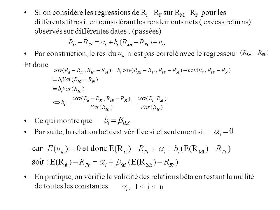 Si on considère les régressions de R i –R F sur R M –R F pour les différents titres i, en considérant les rendements nets ( excess returns) observés s