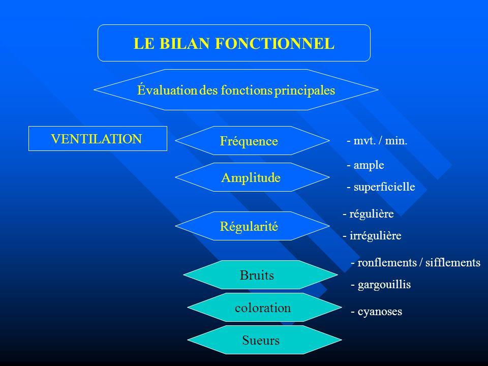VENTILATION LE BILAN FONCTIONNEL Évaluation des fonctions principales Amplitude Régularité Fréquence Bruits coloration Sueurs - ample - superficielle