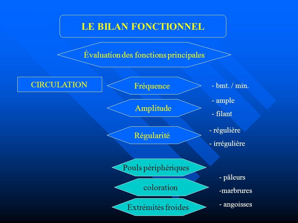CIRCULATION LE BILAN FONCTIONNEL Évaluation des fonctions principales Fréquence - bmt. / min. Amplitude - ample - filant Régularité - régulière - irré