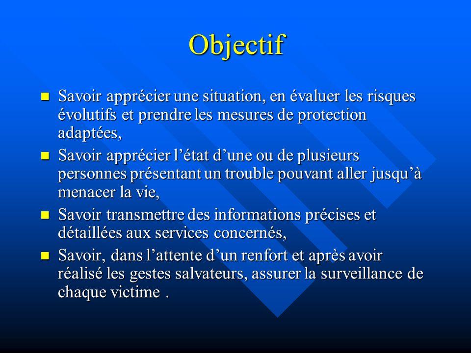 Objectif Savoir apprécier une situation, en évaluer les risques évolutifs et prendre les mesures de protection adaptées, Savoir apprécier une situatio