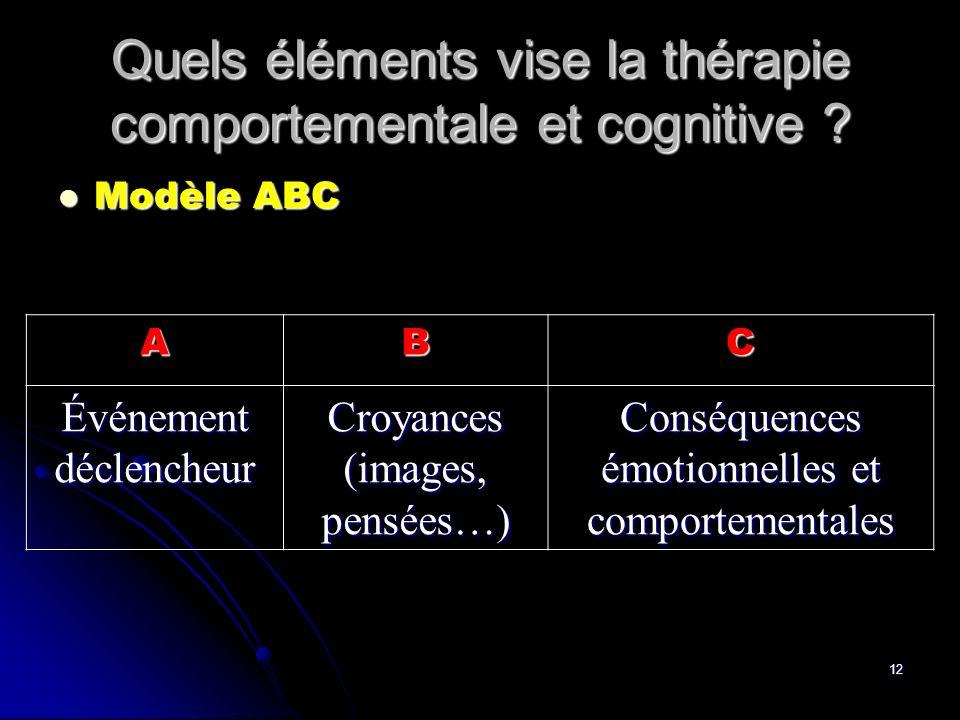 12 Quels éléments vise la thérapie comportementale et cognitive ? Modèle ABC Modèle ABC ABC Événement déclencheur Croyances (images, pensées…) Conséqu