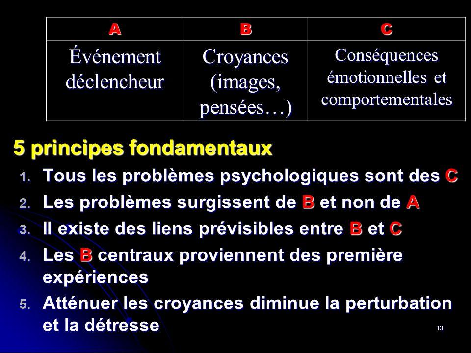 13 5 principes fondamentaux 1. Tous 1. Tous les problèmes psychologiques sont des C 2. Les 2. Les problèmes surgissent de Bet non de A 3. Il 3. Il exi