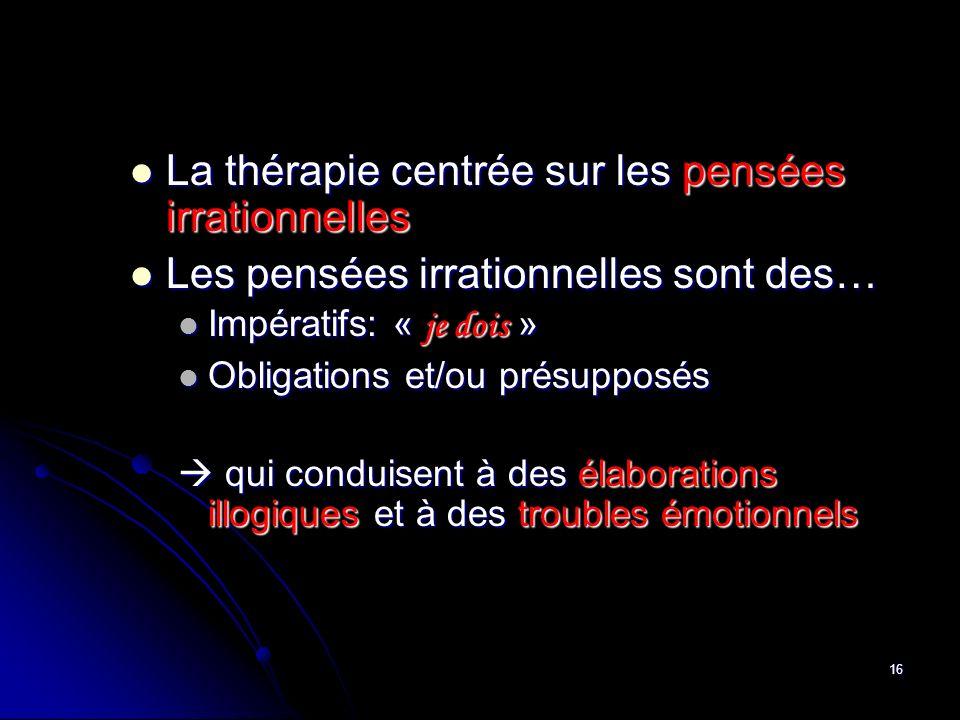 16 La thérapie centrée sur les pensées irrationnelles La thérapie centrée sur les pensées irrationnelles Les pensées irrationnelles sont des… Les pens