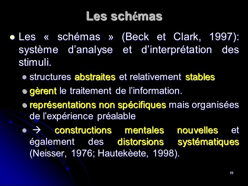 19 Les sch é mas Les « schémas » (Beck et Clark, 1997): système danalyse et dinterprétation des stimuli. Les « schémas » (Beck et Clark, 1997): systèm