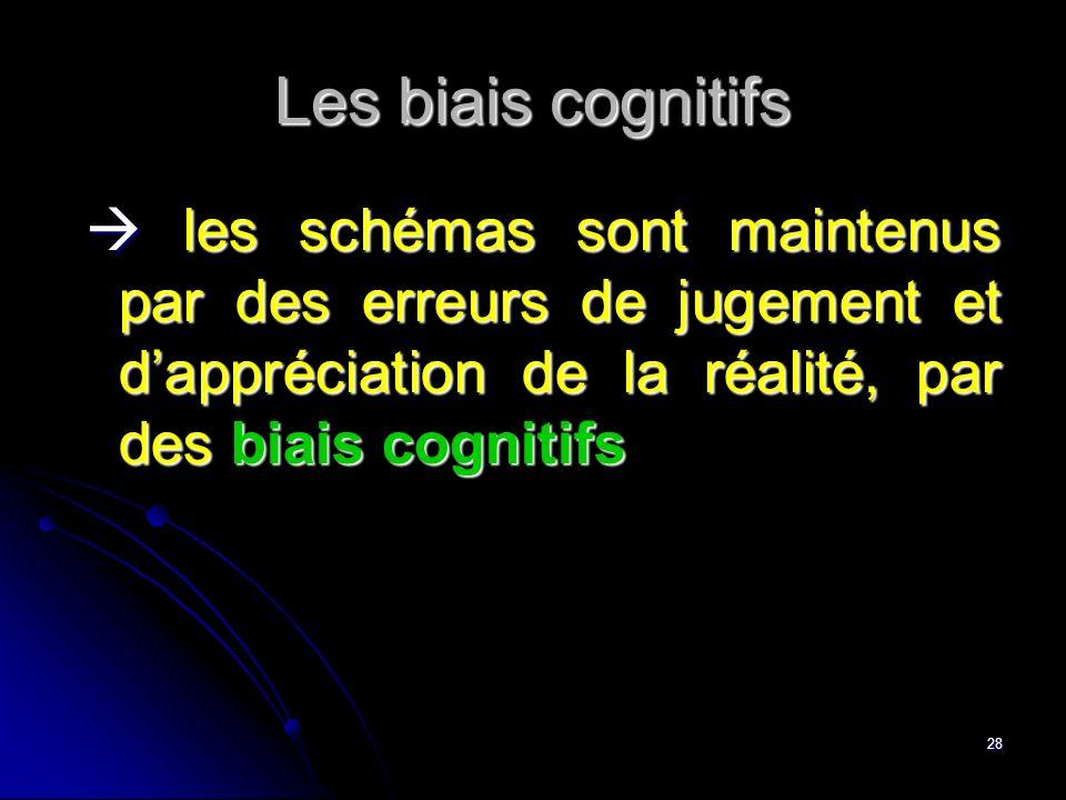 28 Les biais cognitifs les schémas sont maintenus par des erreurs de jugement et dappréciation de la réalité, par des biais cognitifs les schémas sont