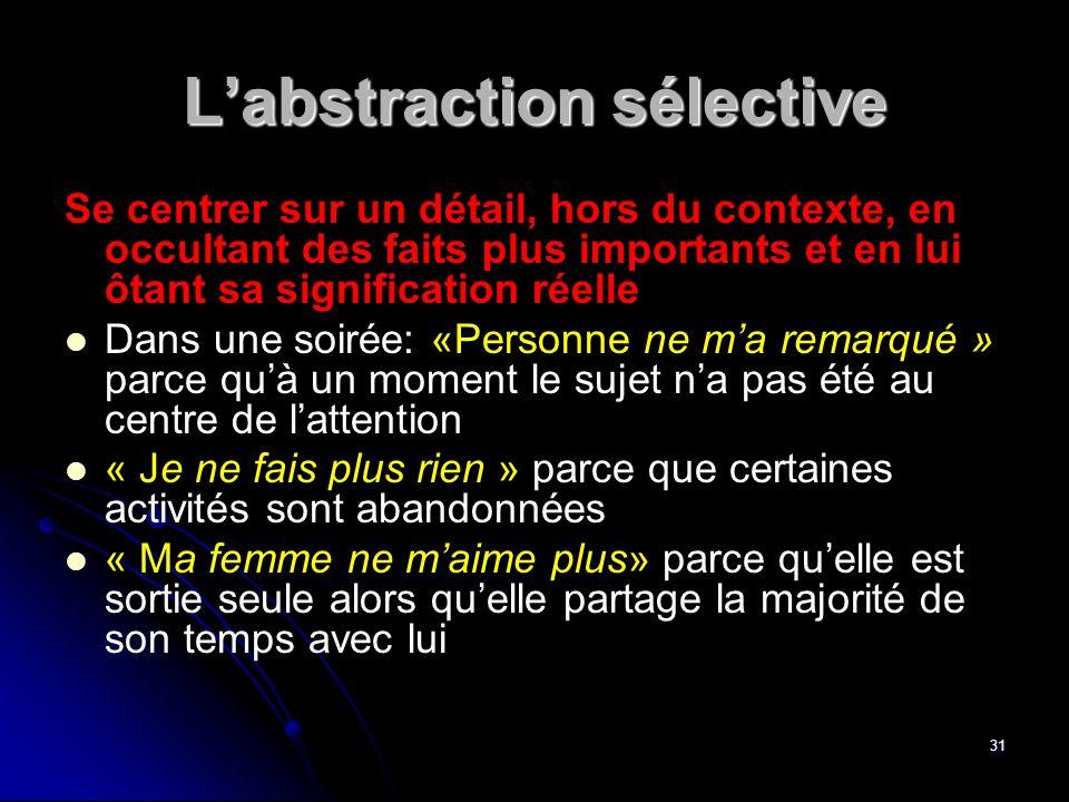 31 Labstraction sélective Se centrer sur un détail, hors du contexte, en occultant des faits plus importants et en lui ôtant sa signification réelle D