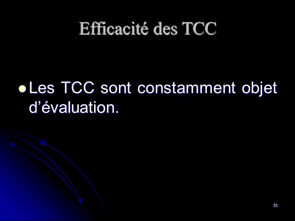 33 Efficacité des TCC Les TCC sont constamment objet dévaluation. Les TCC sont constamment objet dévaluation.