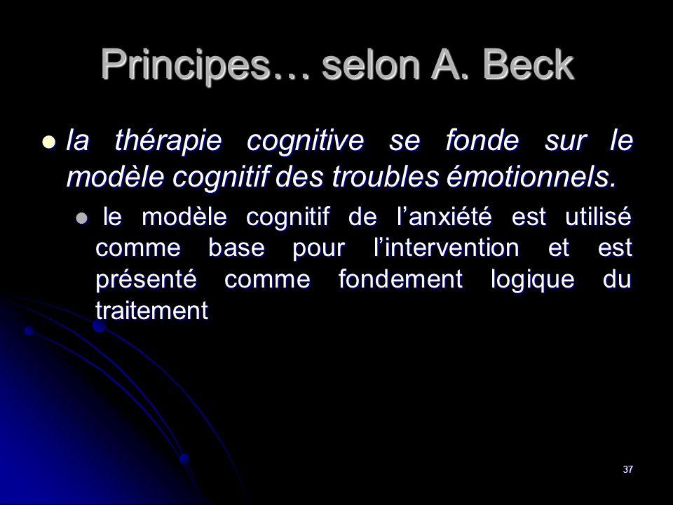 37 Principes… selon A. Beck la thérapie cognitive se fonde sur le modèle cognitif des troubles émotionnels. la thérapie cognitive se fonde sur le modè