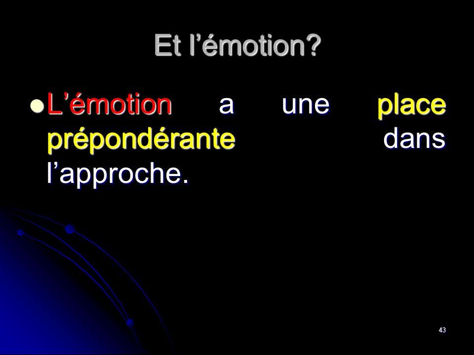 43 Et lémotion? Lémotion a une place prépondérante dans lapproche. Lémotion a une place prépondérante dans lapproche.