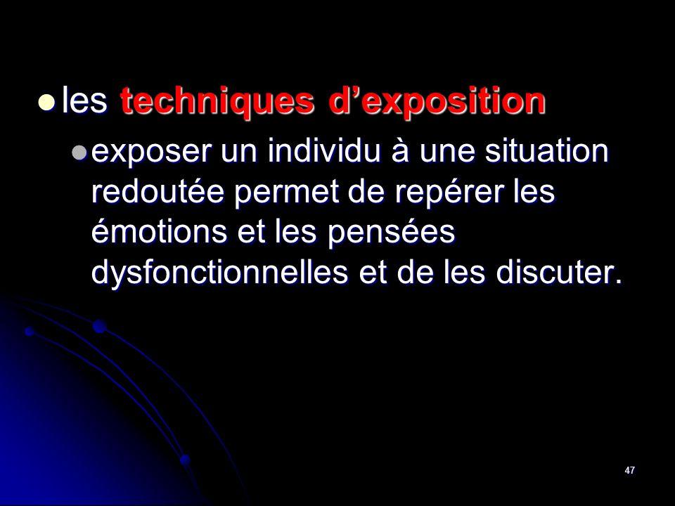 47 les techniques dexposition les techniques dexposition exposer un individu à une situation redoutée permet de repérer les émotions et les pensées dy
