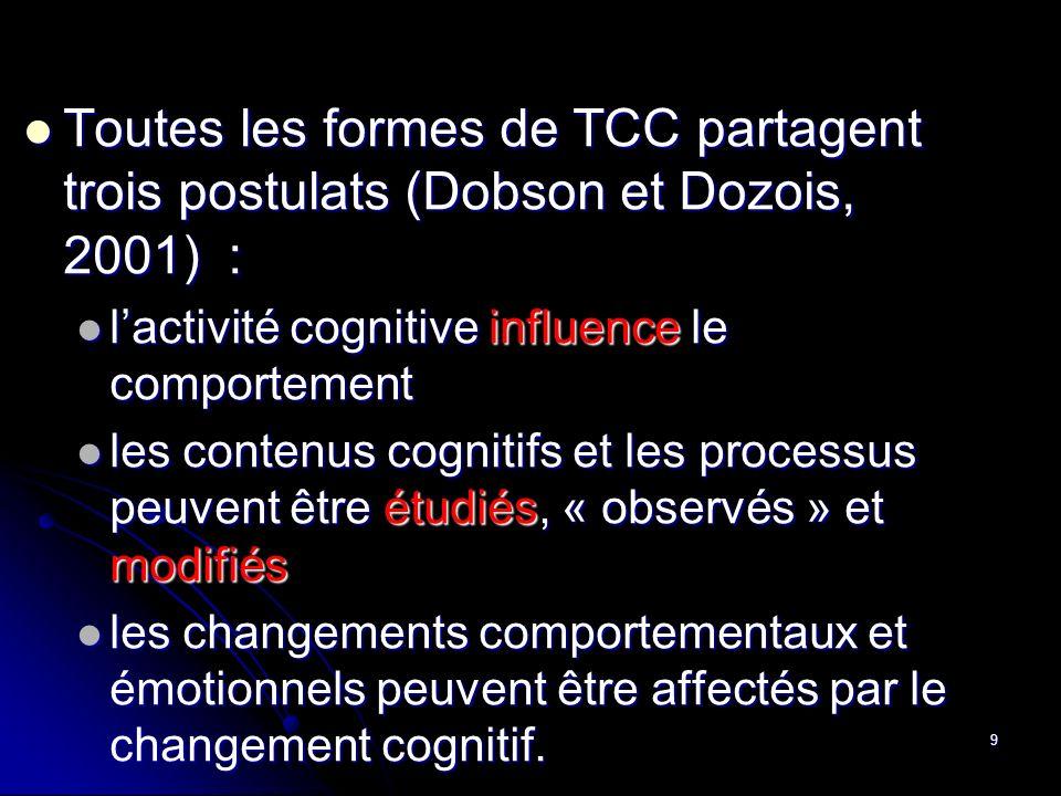 9 Toutes les formes de TCC partagent trois postulats (Dobson et Dozois, 2001) : Toutes les formes de TCC partagent trois postulats (Dobson et Dozois,