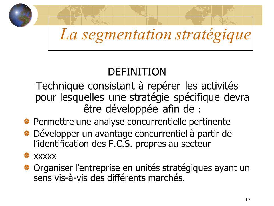 13 La segmentation stratégique DEFINITION Technique consistant à repérer les activités pour lesquelles une stratégie spécifique devra être développée