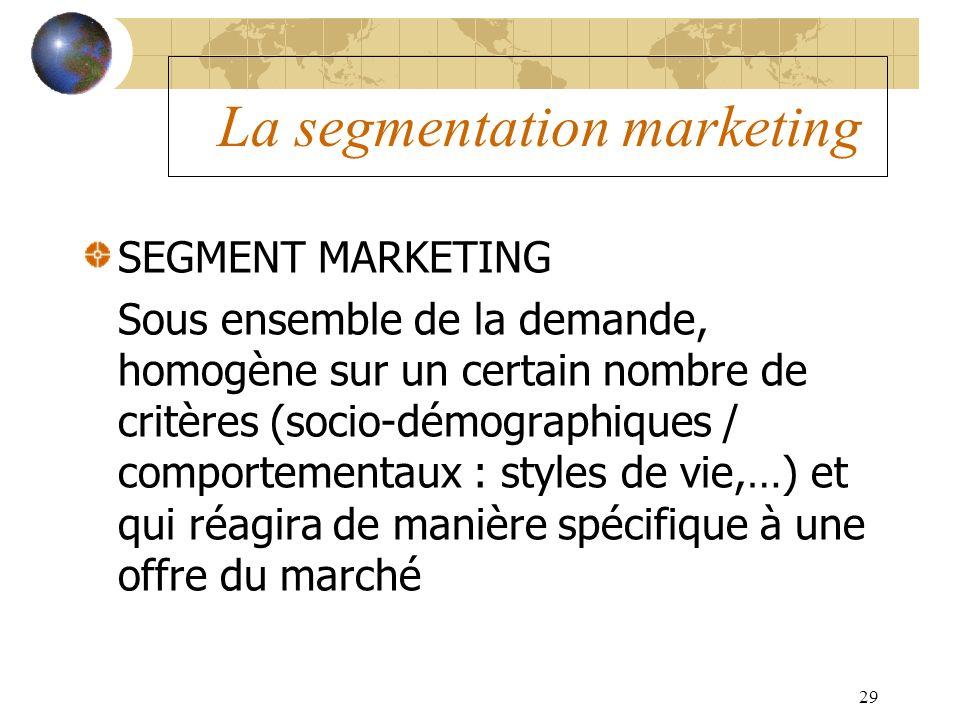 29 La segmentation marketing SEGMENT MARKETING Sous ensemble de la demande, homogène sur un certain nombre de critères (socio-démographiques / comport