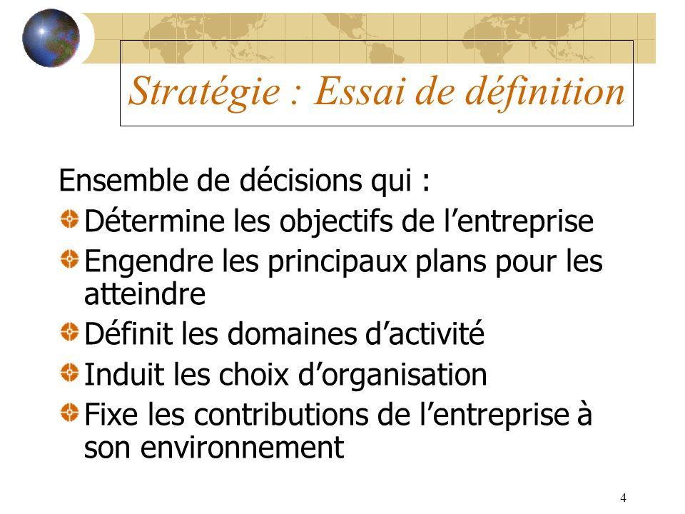 4 Stratégie : Essai de définition Ensemble de décisions qui : Détermine les objectifs de lentreprise Engendre les principaux plans pour les atteindre
