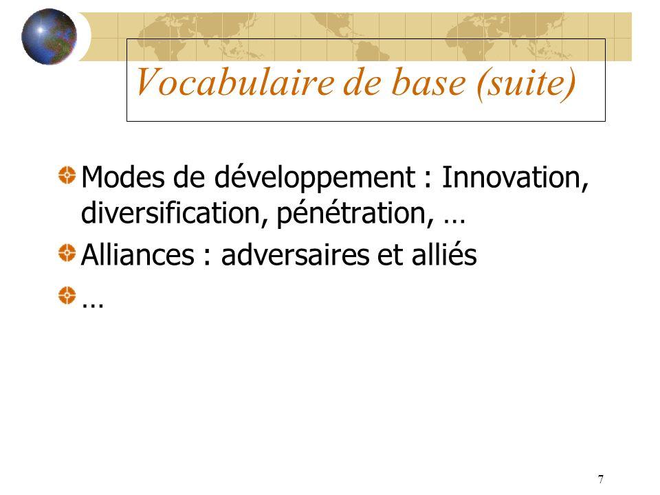 7 Modes de développement : Innovation, diversification, pénétration, … Alliances : adversaires et alliés … Vocabulaire de base (suite)