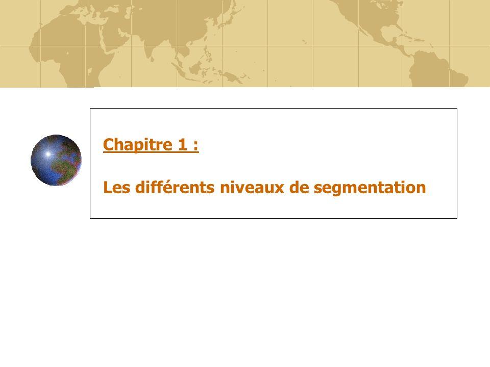 8 Chapitre 1 : Les différents niveaux de segmentation