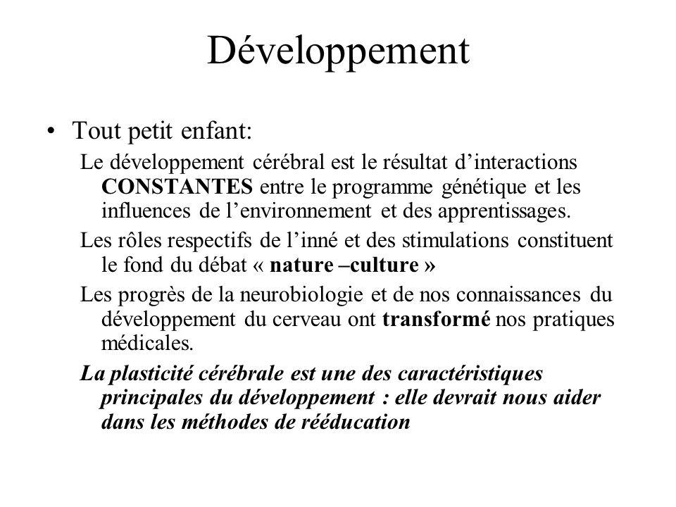 Développement Tout petit enfant: Le développement cérébral est le résultat dinteractions CONSTANTES entre le programme génétique et les influences de