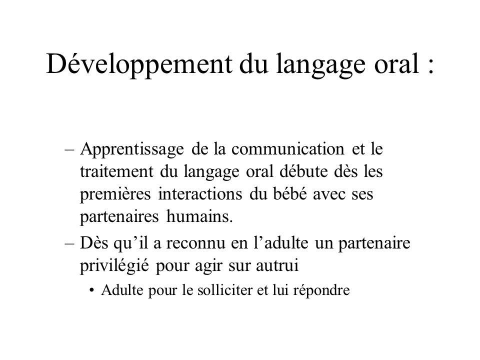 Développement du langage oral : –Apprentissage de la communication et le traitement du langage oral débute dès les premières interactions du bébé avec