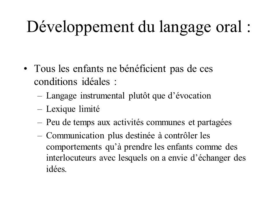 Développement du langage oral : Tous les enfants ne bénéficient pas de ces conditions idéales : –Langage instrumental plutôt que dévocation –Lexique l
