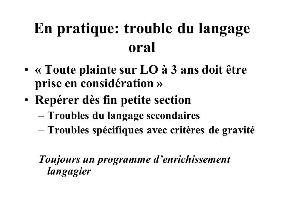 En pratique: trouble du langage oral « Toute plainte sur LO à 3 ans doit être prise en considération » Repérer dès fin petite section –Troubles du lan