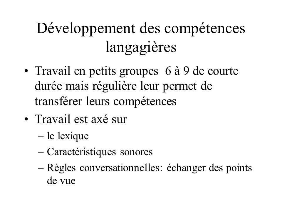 Développement des compétences langagières Travail en petits groupes 6 à 9 de courte durée mais régulière leur permet de transférer leurs compétences T