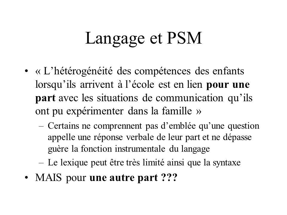 Langage et PSM « Lhétérogénéité des compétences des enfants lorsquils arrivent à lécole est en lien pour une part avec les situations de communication