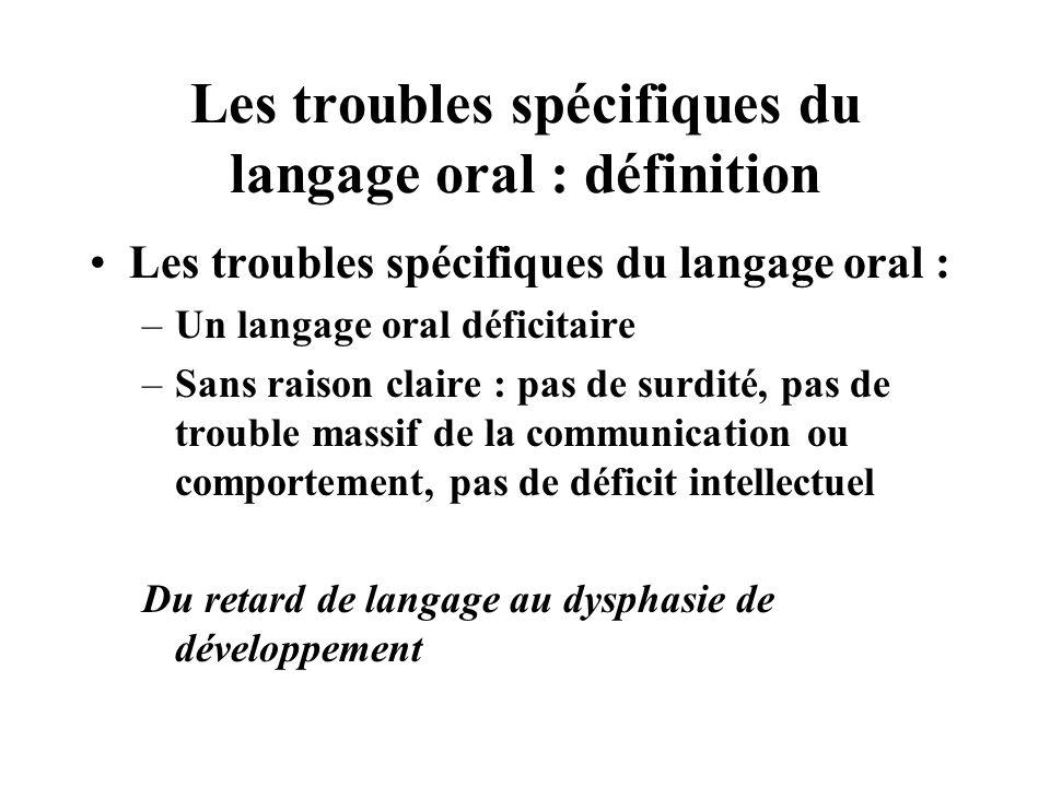 Les troubles spécifiques du langage oral : définition Les troubles spécifiques du langage oral : –Un langage oral déficitaire –Sans raison claire : pa