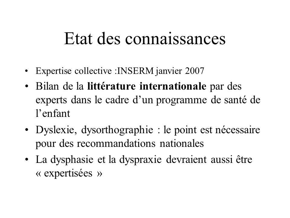 Etat des connaissances Expertise collective :INSERM janvier 2007 Bilan de la littérature internationale par des experts dans le cadre dun programme de