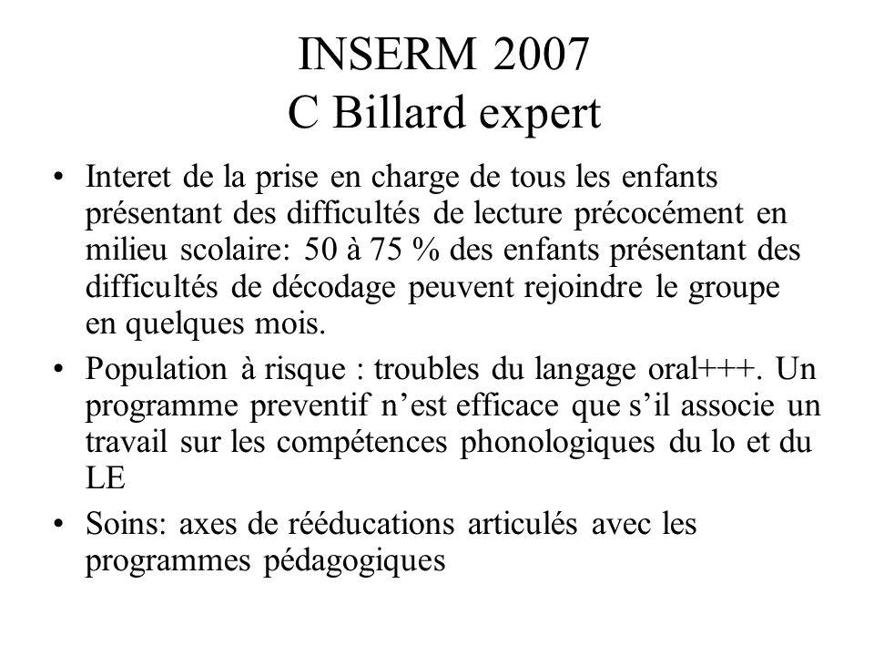 INSERM 2007 C Billard expert Interet de la prise en charge de tous les enfants présentant des difficultés de lecture précocément en milieu scolaire: 5