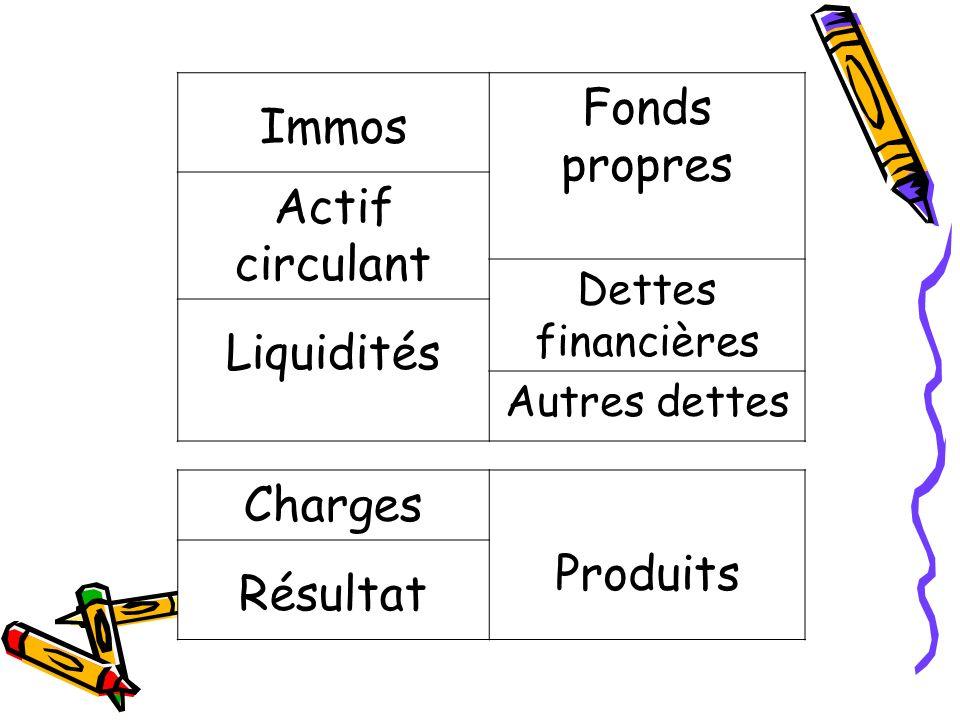 Immos Fonds propres Actif circulant Dettes financières Liquidités Autres dettes Charges Produits Résultat