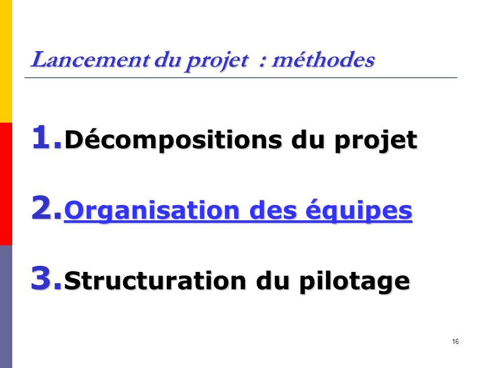 16 Lancement du projet : méthodes 1. Décompositions du projet 2. Organisation des équipes 3. Structuration du pilotage