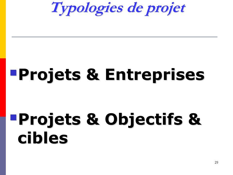 29 Typologies de projet Projets & Entreprises Projets & Entreprises Projets & Objectifs & cibles Projets & Objectifs & cibles