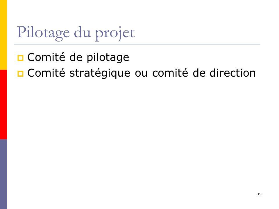 Pilotage du projet Comité de pilotage Comité stratégique ou comité de direction 35