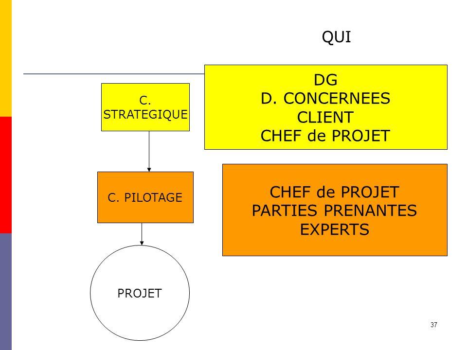 37 PROJET C. PILOTAGE C. STRATEGIQUE QUI DG D. CONCERNEES CLIENT CHEF de PROJET PARTIES PRENANTES EXPERTS