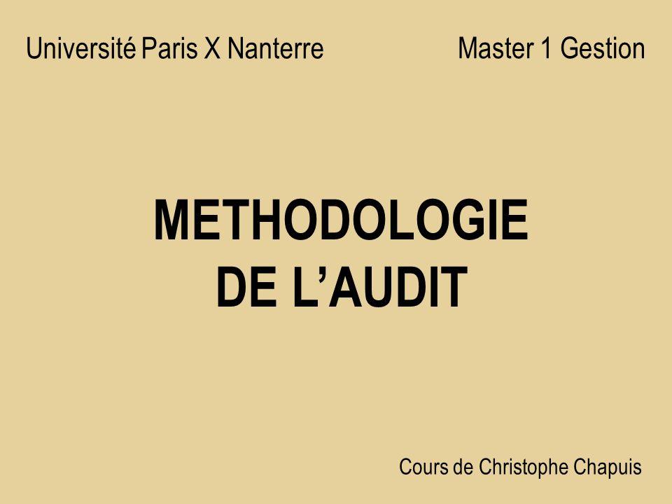 METHODOLOGIE DE LAUDIT Université Paris X Nanterre Master 1 Gestion Cours de Christophe Chapuis