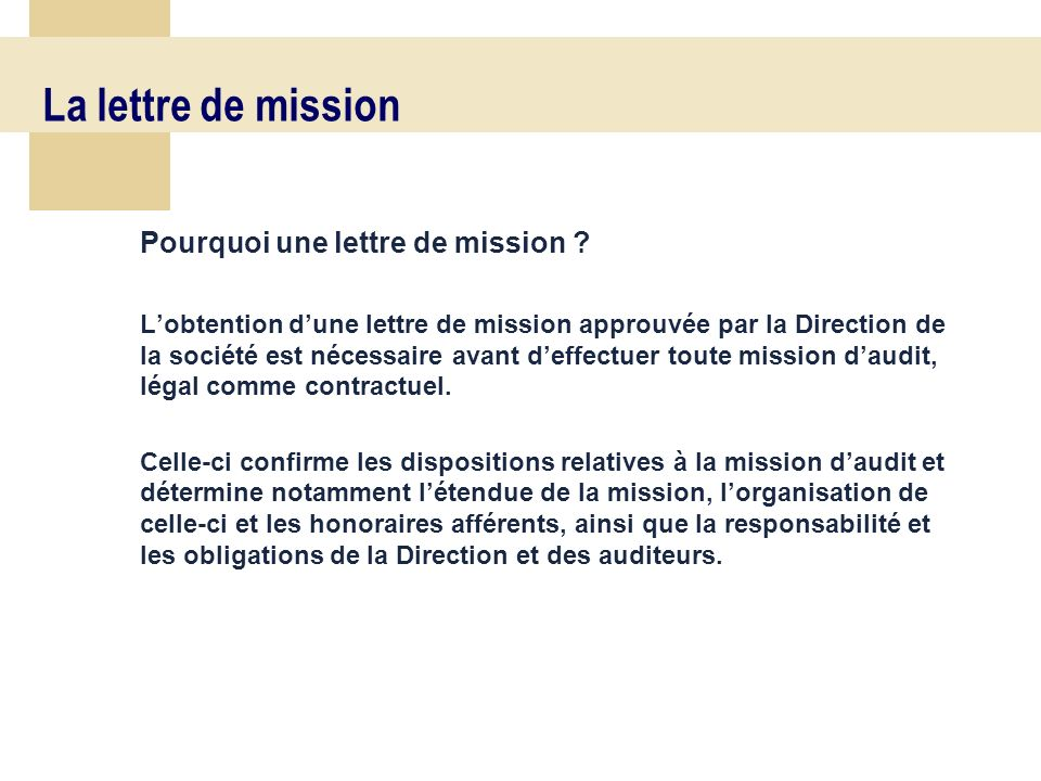 Acceptation de la mission daudit