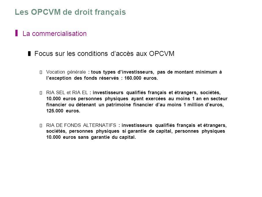 Les OPCVM de droit français La commercialisation Focus sur les conditions daccès aux OPCVM Vocation générale : tous types dinvestisseurs, pas de monta