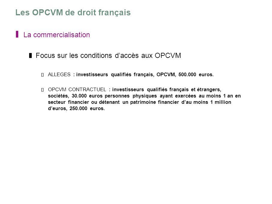 Les OPCVM de droit français La commercialisation Focus sur les conditions daccès aux OPCVM ALLEGES : investisseurs qualifiés français, OPCVM, 500.000