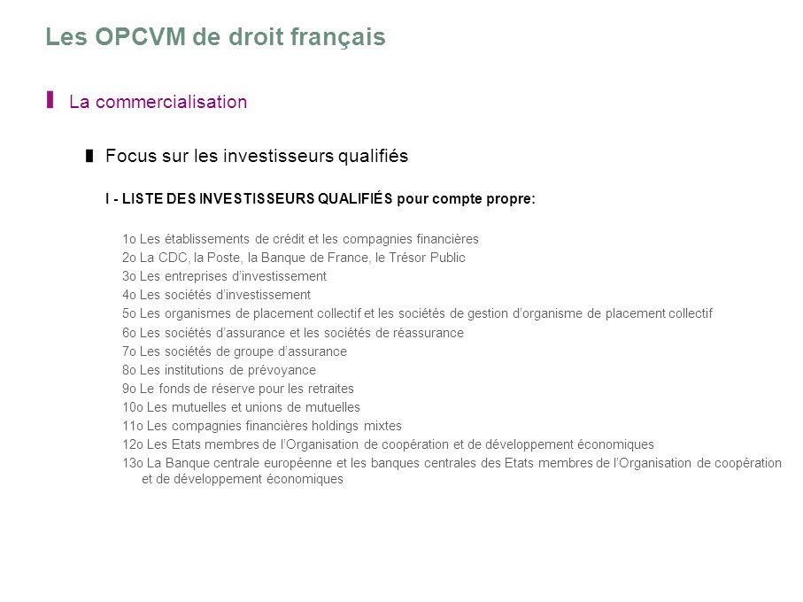 Les OPCVM de droit français La commercialisation Focus sur les investisseurs qualifiés I - LISTE DES INVESTISSEURS QUALIFIÉS pour compte propre: 1o Le