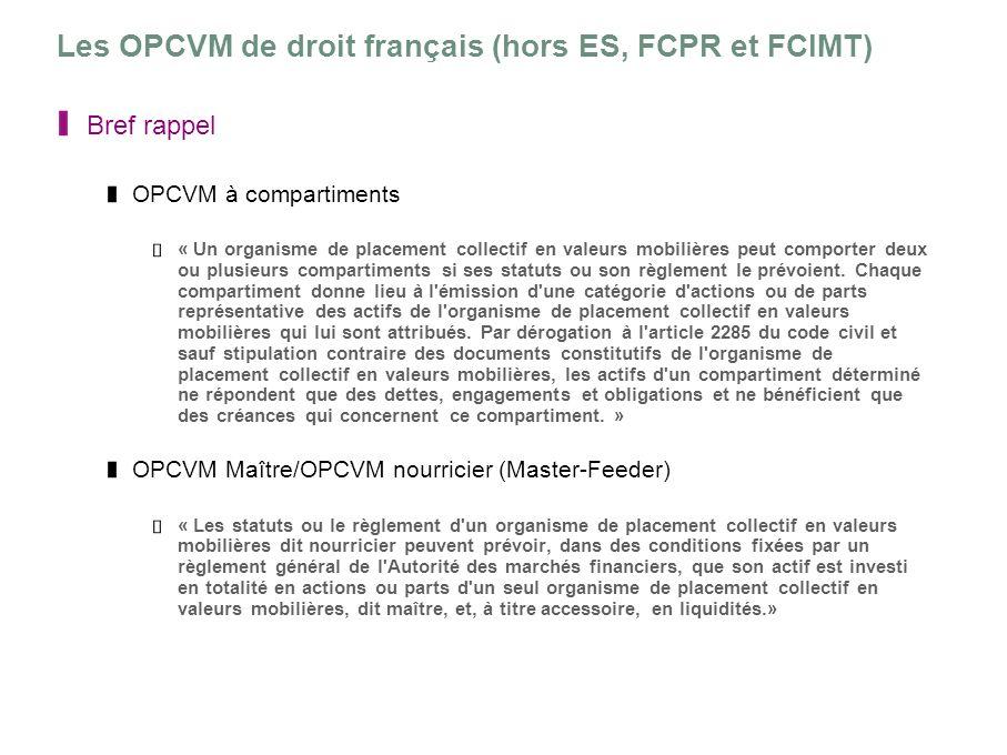 Les OPCVM de droit français (hors ES, FCPR et FCIMT) Bref rappel OPCVM à compartiments « Un organisme de placement collectif en valeurs mobilières peu