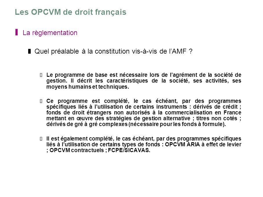 Les OPCVM de droit français La règlementation Quel préalable à la constitution vis-à-vis de lAMF ? Le programme de base est nécessaire lors de lagréme