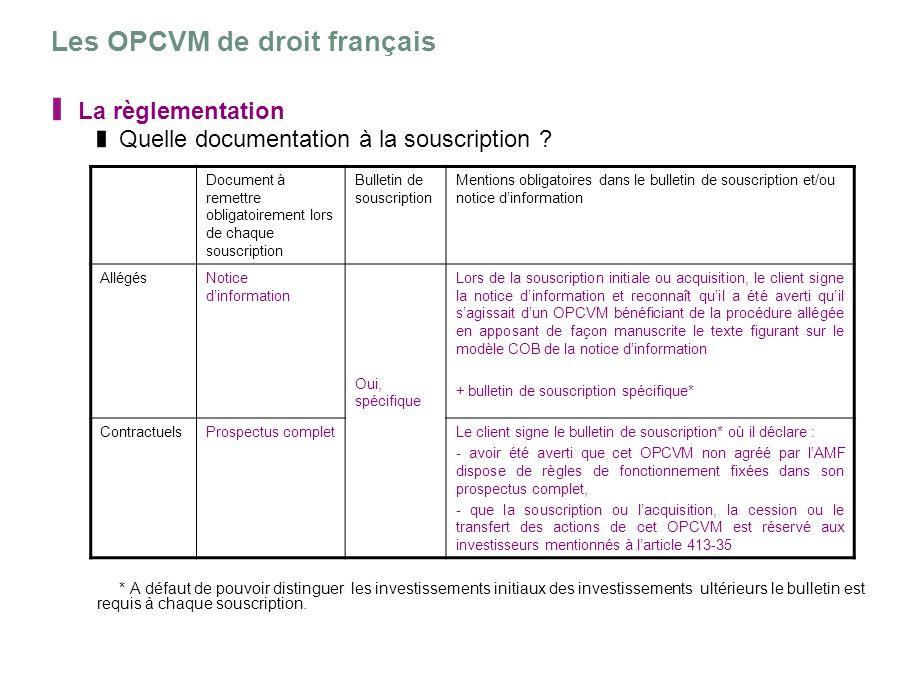 Les OPCVM de droit français La règlementation Quelle documentation à la souscription ? * A défaut de pouvoir distinguer les investissements initiaux d