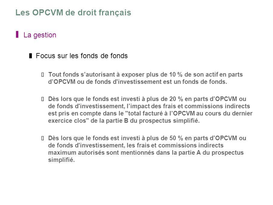 Les OPCVM de droit français La gestion Focus sur les fonds de fonds Tout fonds sautorisant à exposer plus de 10 % de son actif en parts dOPCVM ou de f