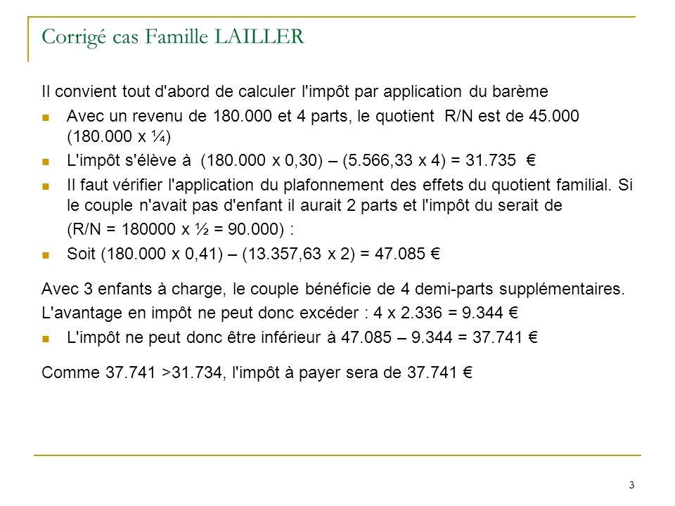 3 3 Corrigé cas Famille LAILLER Il convient tout d abord de calculer l impôt par application du barème Avec un revenu de 180.000 et 4 parts, le quotient R/N est de 45.000 (180.000 x ¼) L impôt s élève à (180.000 x 0,30) – (5.566,33 x 4) = 31.735 Il faut vérifier l application du plafonnement des effets du quotient familial.
