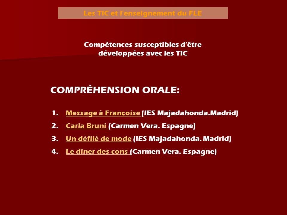 Les TIC et lenseignement du FLE Compréhension écrite: Compétences susceptibles dêtre développées avec les TIC 1.QQui est Amélie Poulain.