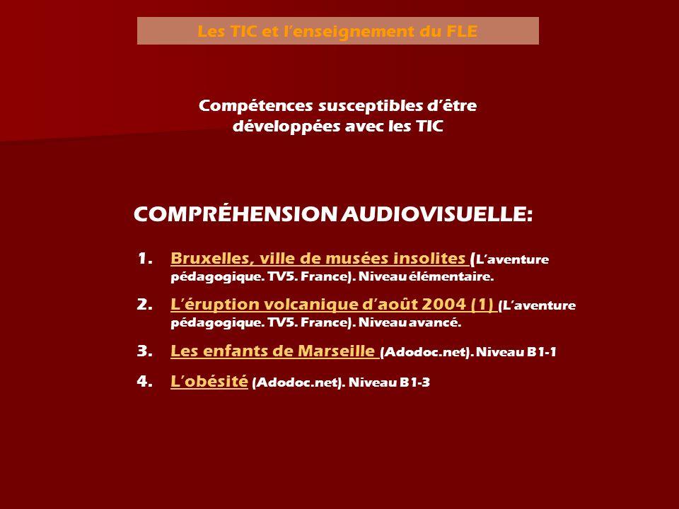 Les TIC et lenseignement du FLE Compétences susceptibles dêtre développées avec les TIC COMPRÉHENSION AUDIOVISUELLE: 1.BBruxelles, ville de musées ins